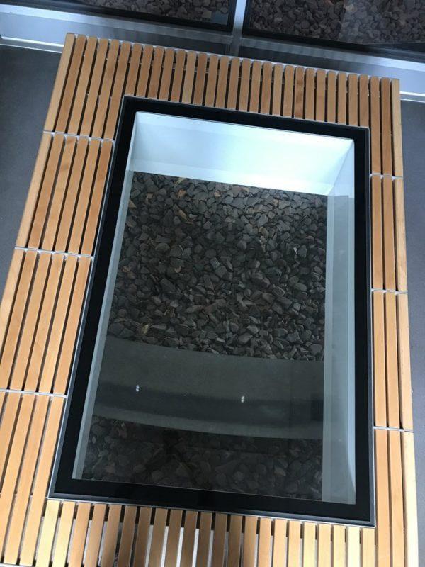 Kabine 17 mit dem verglasten Teil des Bodens in der Seilbahn Koblenz