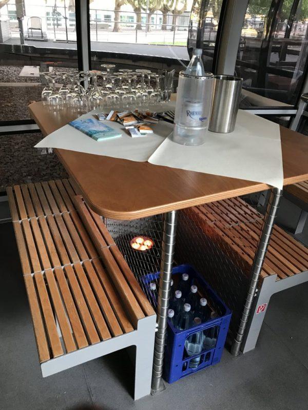 Fertige Kabine für die Fliegende Weinprobe in der Seilbahn Koblenz