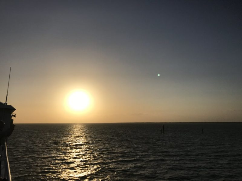 Ein letzter Blick von der Fähre nach Juist auf die untergehende Sonne