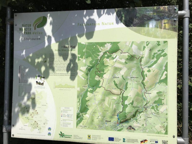 Wegdarstellung am Startort der Rundwanderung Bach Pfad am Wanderparkplatz Bleialf im NaturWanderPark delux