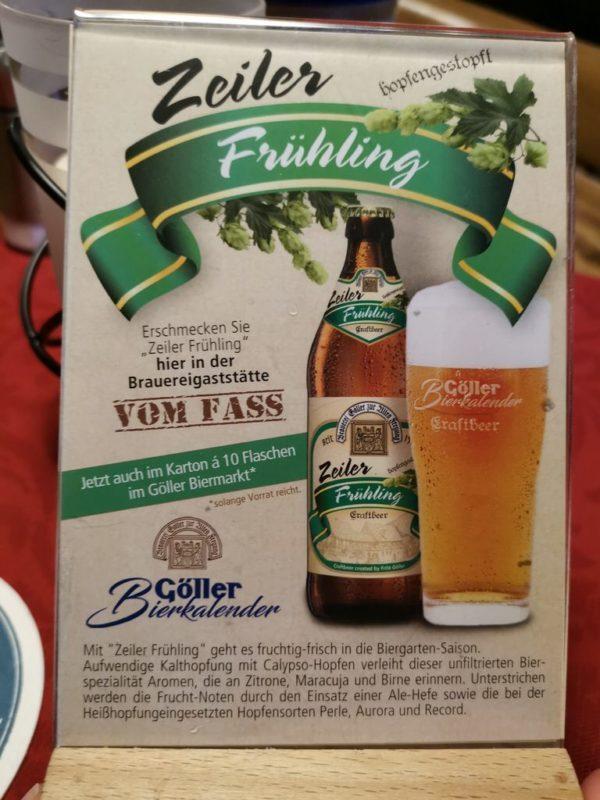 Aufsteller zum Monatsbier im April, dem Zeiler Frühling der Brauerei Göller