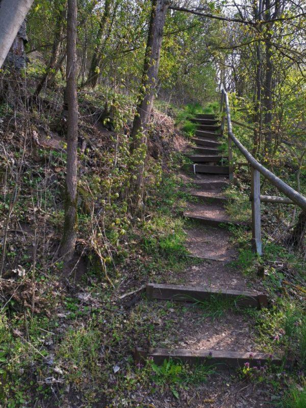 Die Stufen von unten, die ich gerade herunter gekommen bin