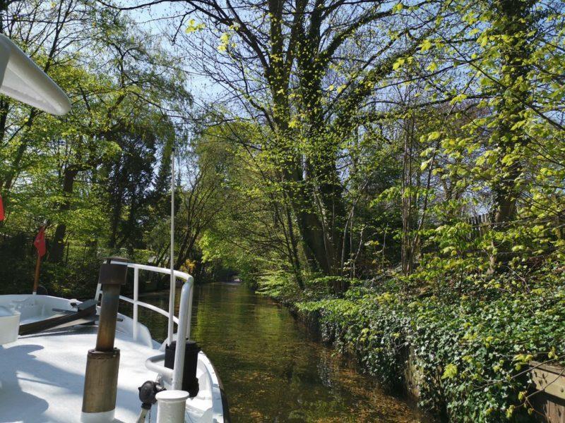 Einfach herrlich, mal nach vorne auch rauszuschauen auf dem Kanal in Hamburg