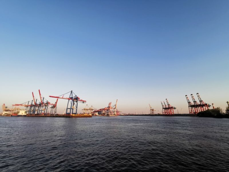 Kräne soweit das Auge reicht im Hamburger Hafen