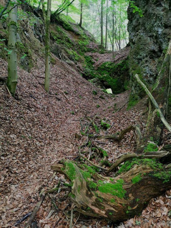Weg durch eine kleine Schlucht zum Basalt-Diabas-Steinbruch