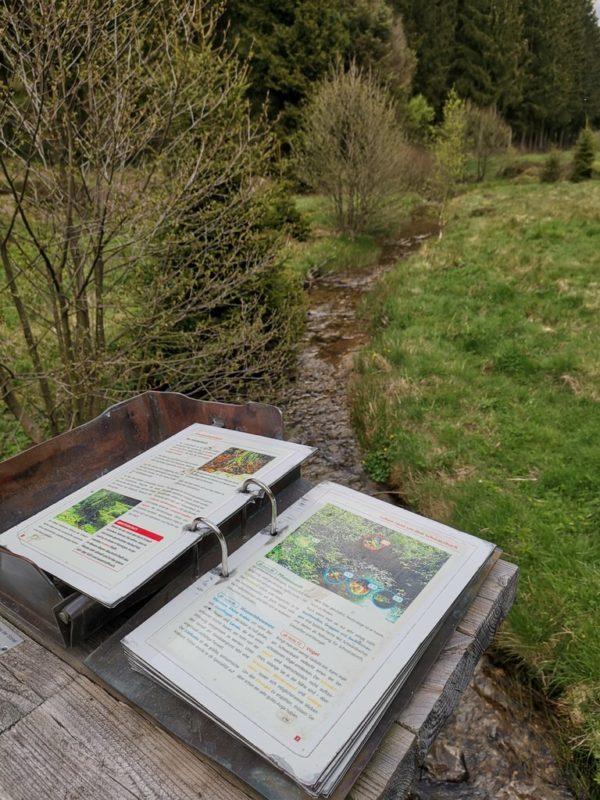 Wetterfestes Buch mit Erläuterungen zur Tierwelt im Schwarzbach und im Schwarzbachtal