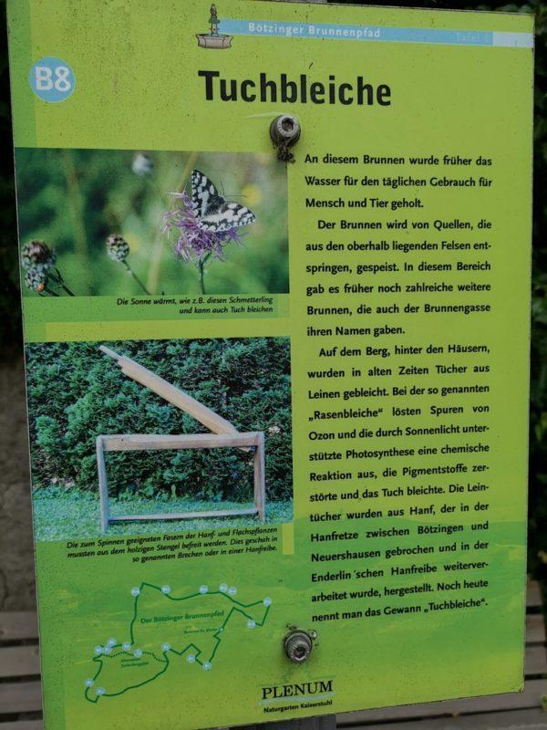 Infotafel zur Tuchbleiche auf dem Brunnenpfad Bötzingen