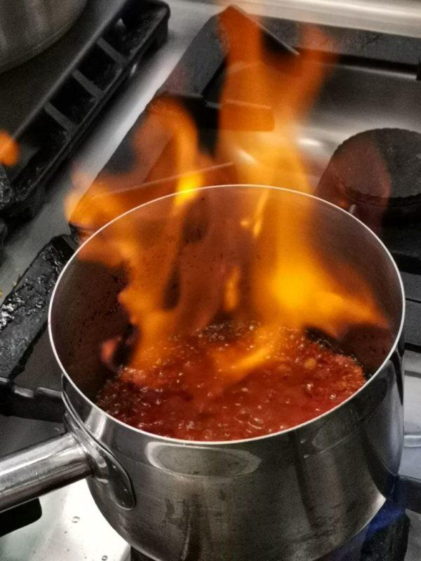 Steaksosse mit flammbierten Pernod