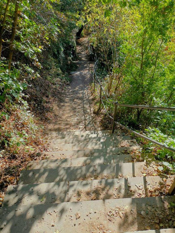 Steile Treppen führen hinab vom Loreleyfelsen zum Rhein