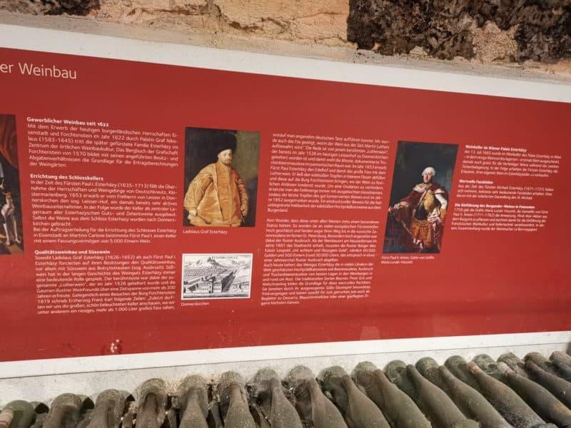 Eine der zahlreichen Infotafeln im Weinmuseum Esterházy