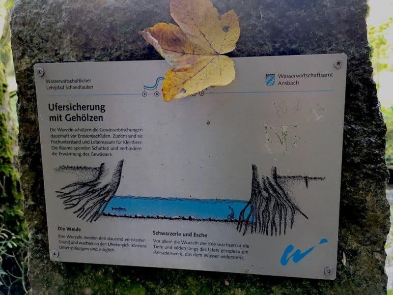 Tafel vom wasserwirtschaftlichen Lehrpfad an der Schandtauber