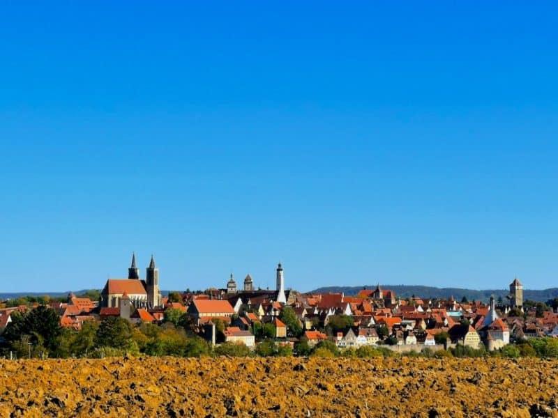 Atemberaubendes Panorama auf Rothenburg ob der Tauber und seine Türme