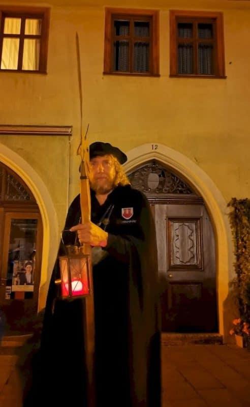 Nachtwächter von Rothenburg, Hans Georg Baumgartner, kurz vor Ende der Führung