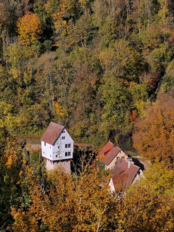 Der Blick vom Burggarten Rothenburg auf das Topplerschlösschen
