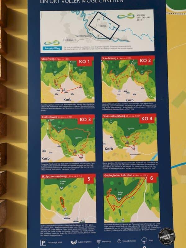 Sechs Wanderroutenvorschläge ab dem Wanderparkplatz oberhalb von Korb im Remstal