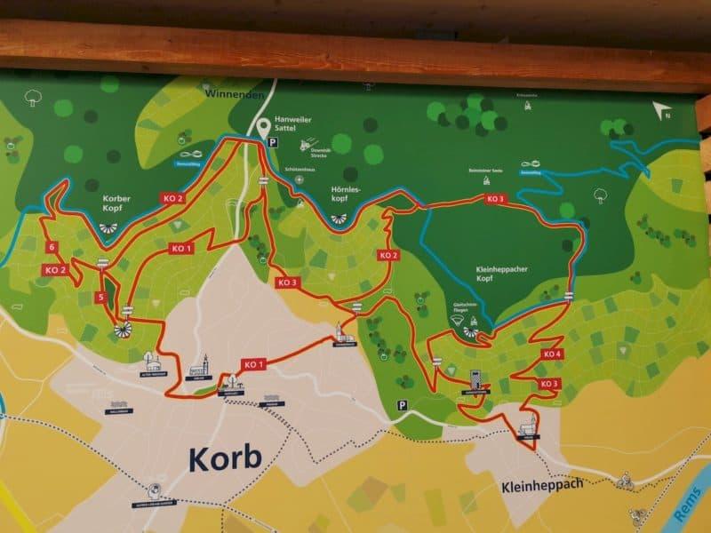 Die verschiedenen Strecken zum Wandern oberhalb von Korb im Remstal
