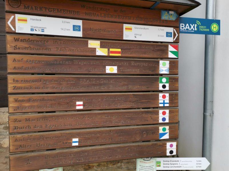 Hinweise auf weitere Wanderwege ab der Gästeinfo Bad Neualbenreuth