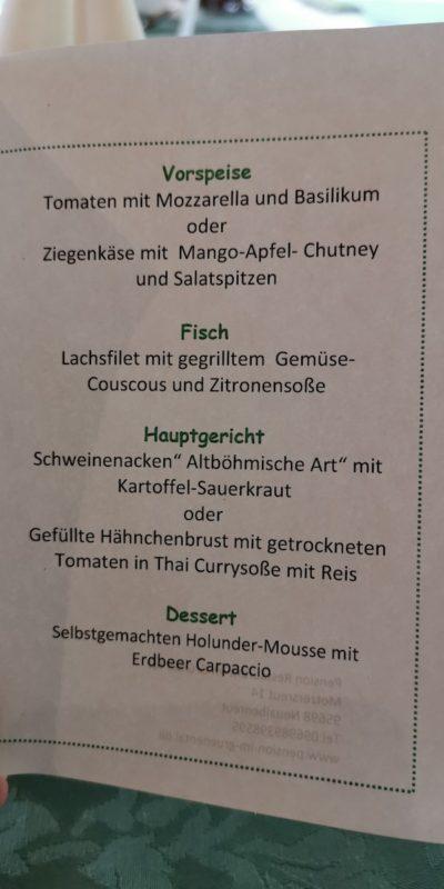 Unsere Menükarte im Grünen Tal in Mozersreuth
