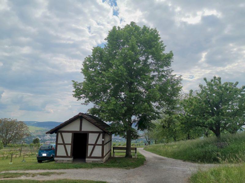 Ein schönes Weinberghäusle kurz nachdem wir den Wald verlassen haben