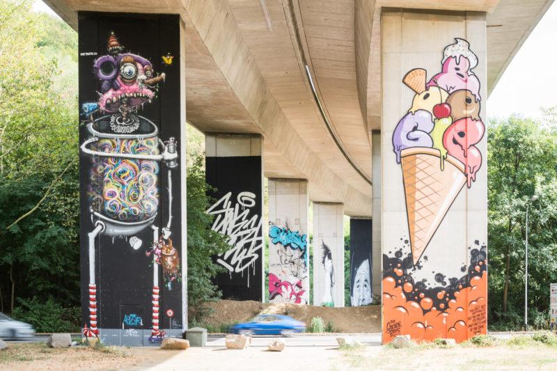 Die Bridge-Gallery in Lörrach an den Autobahnbrückenpfeilern der A96 (Foto: Baschi Bender)