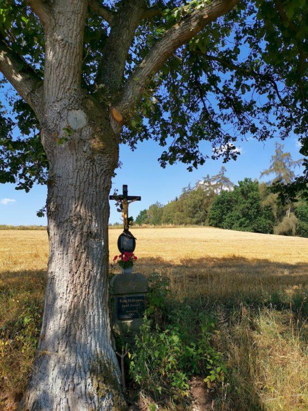 Ein Kreuz auf dem Weg am Feld, kurz bevor es in den Wald geht
