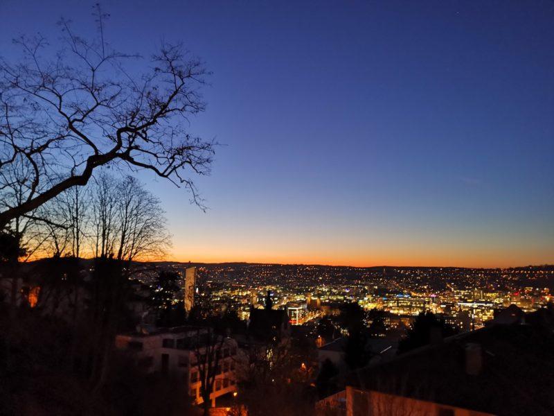 Sonnenuntergang in Stuttgart im Februar 2020