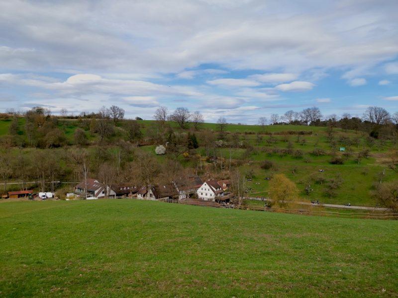 Ein Blick runter auf die Eselsmühle und den gegenüberliegenden Musberger Eichberg von der Esel Weide