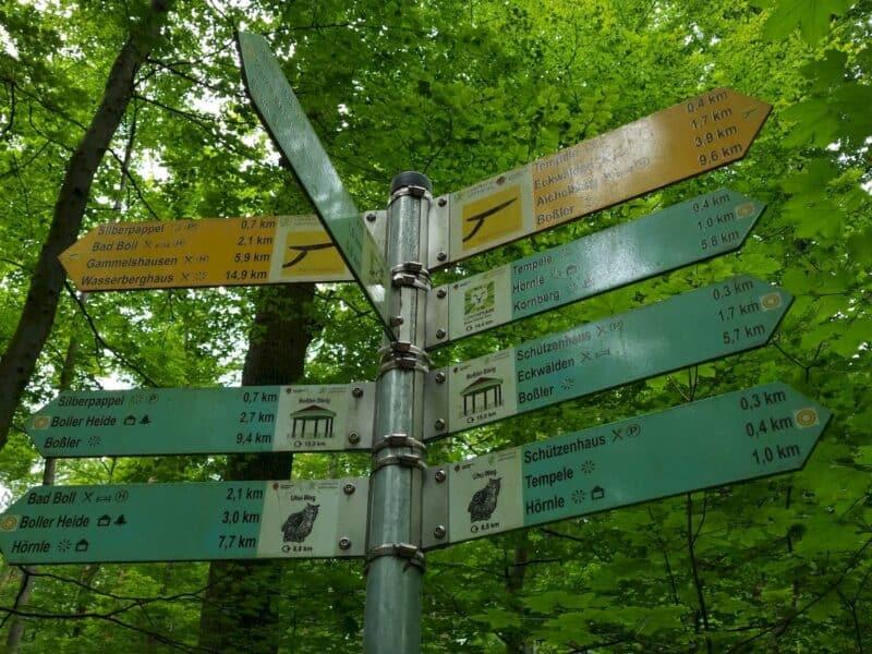 Ausgezeichnete Wegbeschilderung rund um Bad Boll