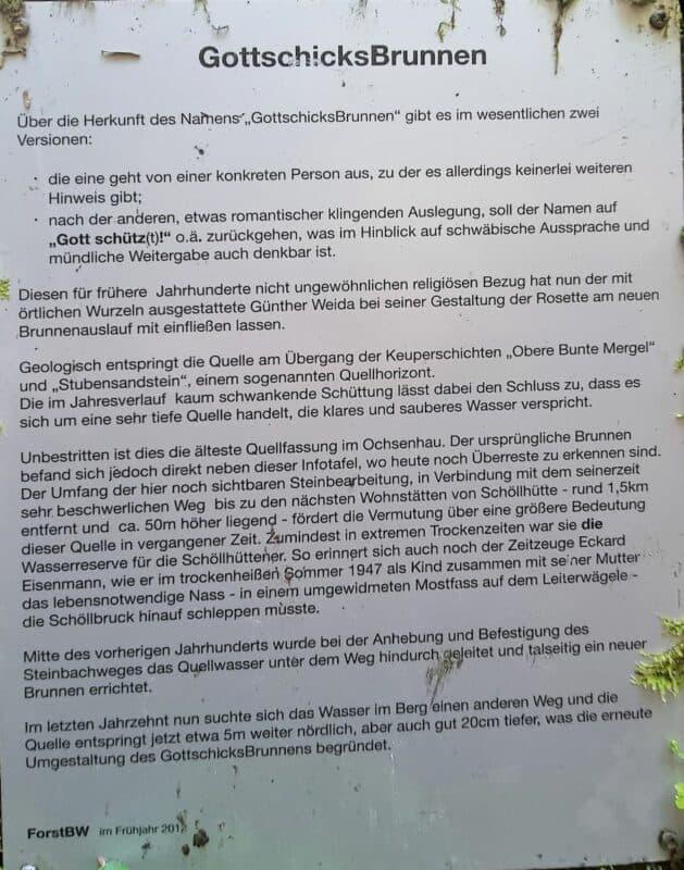 Foto des Schildes mit Informationen zum GottschicksBrunnen