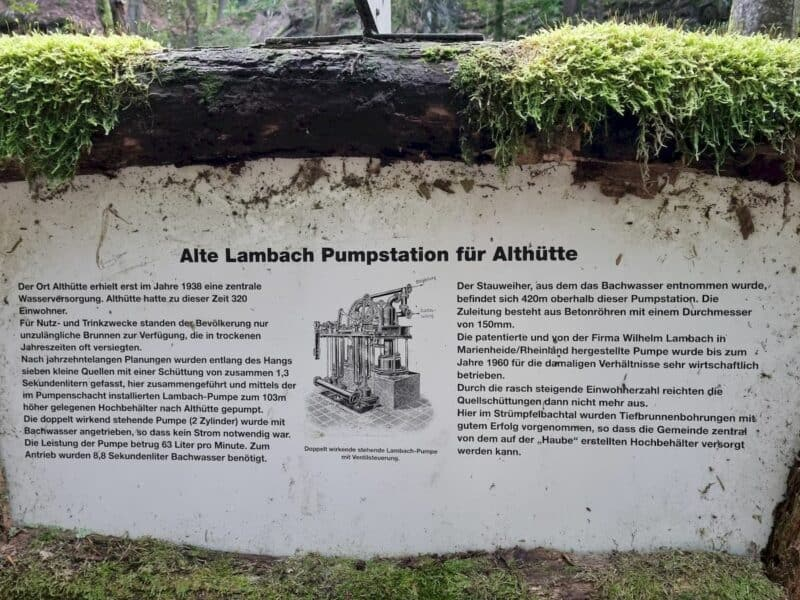 """Infotafel zur """"Alte Lambach Pumpstation"""" von Althütte"""